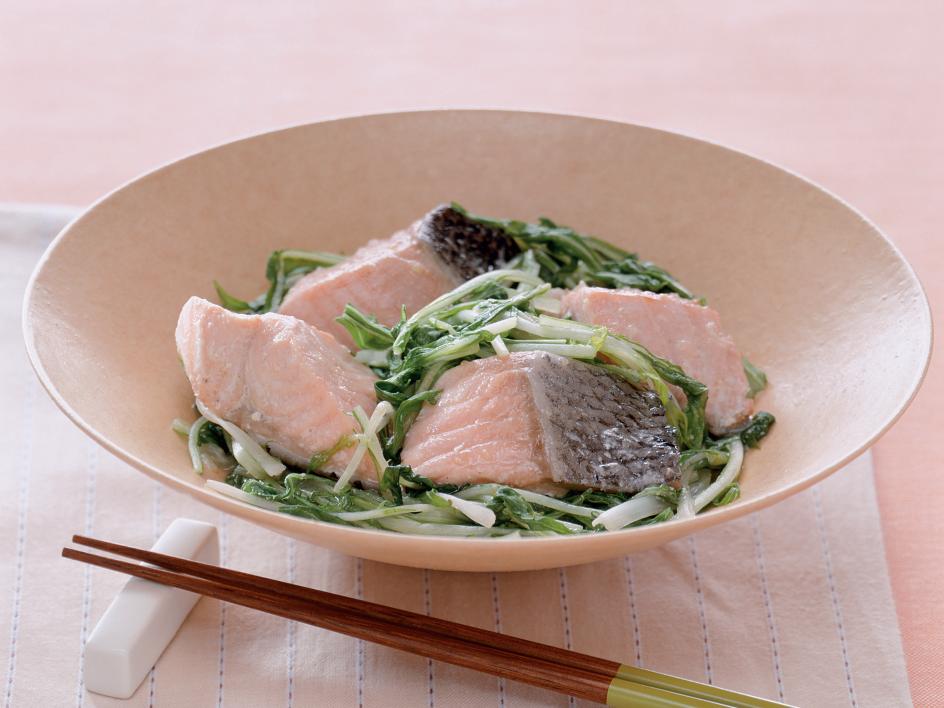 鮭と水菜のさっぱり煮