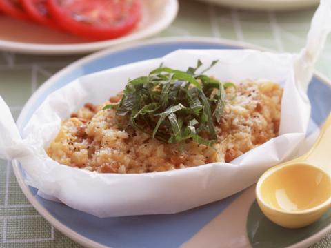 納豆と卵の和風リゾット